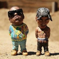 NEED TO GET ME THESE Biggie Smalls And Tupac Garden Gnomes