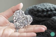 DIY Studded Crystal Heart Brooch @ mintedstrawberry.blogspot.com