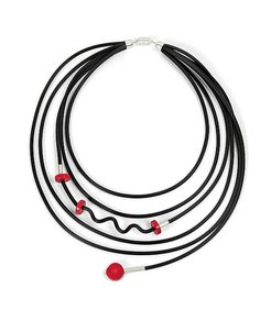 Fun with Coral Necklace by Dagmara Costello: Rubber and Stone Necklace available at www.artfulhome.com