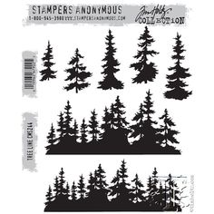 Tim Holtz Cling Rubber Stamps 2015 TREE LINE