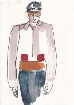 Illustration by Helen Bullock - Prada @ Milan Menswear A/W 2013 - SHOWstudio - The Home of Fashion Film