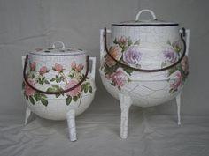 Potes de ferro / reciclados. Pintura craquelé / tecnica do guardanapo | Flickr - Photo Sharing!