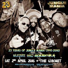 23 YEARS OF JUNGLE MANIA : SATURDAY 2nd APRIL : THE CORONET, LONDON : 10 HOURS OF JUNGLE & DnB MUSIC - BE DERE   @junglemaniauk  @congonatty_official   @raggatwinzz  @congodubz  @raggatwinz  @navi4real  @tenorfly   #originaljunglistbusiness