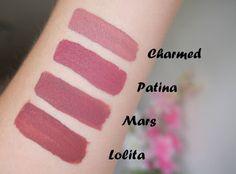 Vergleich LASplash Charmed, Stila Patina, Coloured Raine Mars & Kat Von D Lolita