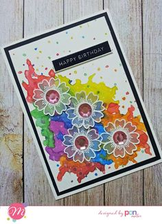 Colorful splash accentuated by the vellum flowers Craft Stamps, Happy M, Good Morning Friends, Card Making Inspiration, Color Card, Colorful, Flowers, Cards, Maps