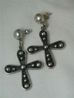 Vintage Mexico Sterling Cross Earrings