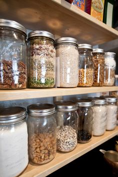 Love this idea, open shelving using mason jars instead of store bought containers..possibly use chalkboard tags?