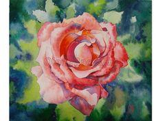 Rose ORIGINAL WATERCOLOR Flower Floral Red Pink by OlenaBacasArt, $35.00