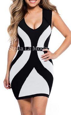$26.99 Black White Curvy Lines Thick Straps Bodycon Dress - Stella La Moda