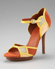Love everything about this shoe -- colors, details, everything! | Anastasia Colorblock Sandal by Tory Burch
