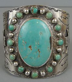 Wide Heavy Early Vintage  1930's Navajo Turquoise Silver Arrow Cuff Bracelet