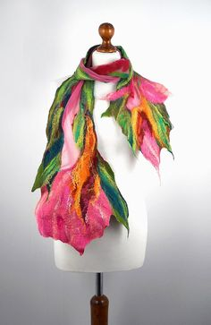 Felted Scarf Light Wrap Scarves Felt Nunofelt Nuno felt by filcant