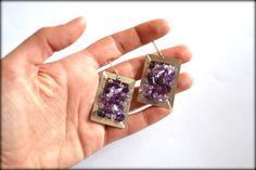Amethyst Earrings, Purple Earrings, Gemstone Earrings, Dangle Earrings, 18K Gold Plated Earrings
