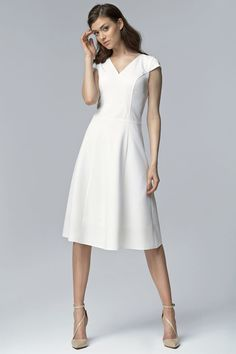 Ecru V Neck Cross Bodice Seam Dress with Cap Sleeves