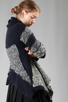 short asymmetric cape cardigan in heavy knitted wool with a loom effect and nordic pattern - Y'S Yohji Yamamoto