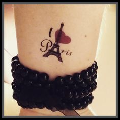 Paris tattoo I love Paris fake tattoo by SharonHArtDesigns on Etsy