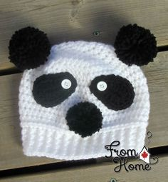 BabyToddler Panda Beanie Made to Order by FromHomeCrochet on Etsy, $18.00