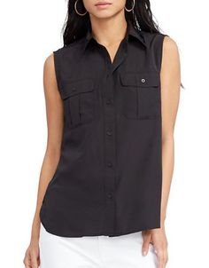 Lauren Ralph Lauren Crepe de Chine Sleeveless Top Women's Black 8