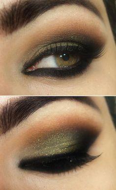 Tutorial com sombra verde oliva, preta e marrom
