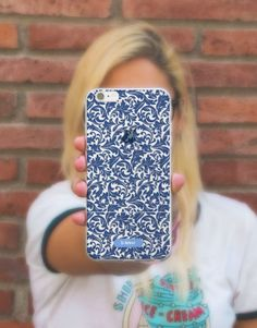 funda-movil-blue-jacquard-2 Blue Tiles, Phone Cases, See Through, Mobile Cases, Blue Nails, Phone Case