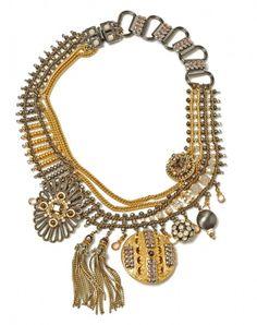 Miriam Haskell gold/gunmetal medallion chain necklace