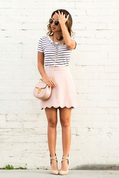 summer outfit, summer fashion, street style, street chic style, party outfit - black and white striped t-shirt, light pink mini skirt, statement necklace, nude heels, light pink sunglasses, light pink shoulder bag