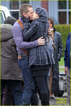 Ginnifer Goodwin and Josh Dallas embrace for a passionate kiss on the Once Upon A Time set on Monday (December 10) in Vancouver, Canada.