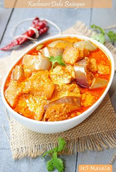 Kashmiri Dahi Baingan - Eggplant Curry in Yogurt Fennel Sauce