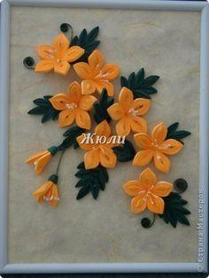 Картина, панно Квиллинг: Цветики-цветочки Бумажные полосы