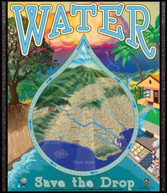 Poster about the water cycle in Los Angeles, created by Michelle Leveille of Artifact Graphics, for the Los Angeles Zoo. The finished poster is being sent to schools in Los Angeles to aid teachers educating children about the importance of water conservation.