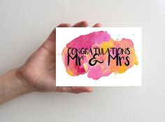 Congratulations Card,  Wedding Congratulations Card, Engagement Card, Greeting Card, Mr and Mrs Card, Watercolour Painting Card, Pretty Card