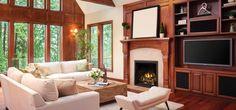 Napoleon Elevation X 36 Direct Vent Gas Fireplace EX36PTEL - Birch Log Set / MIRRO-FLAME™ Porcelain Reflective Radiant Panels / Finish Trim - Black