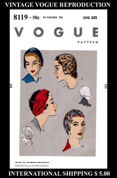 VOGUE 8119 Millinery Vint 50's Sexy Chic Hats HeadBand Caps Headcover Fabric Material Sew Pattern Chemo Cancer Reproduction / Copy One Size