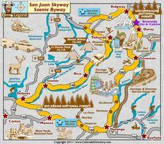San Juan Skyway Scenic Byway Map in South West Colorado, Colorado Vacation Directory Colorado Springs, Pagosa Springs, Alberta Canada, Oklahoma, Denver, San Juan Mountains, Colorado Mountains, Rocky Mountains, Road Trip To Colorado