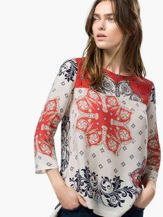 Top 4 - Stylish Lady Women's Fashion Casual Sleeve O-neck Geometric Printed Straight Loose Blouse Shirt Tops Coachella Looks, Chiffon Shirt, Shirt Blouses, Ideias Fashion, Clothes For Women, Womens Fashion, Prints, Ss 15, Style