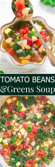 Tomato, Beans, and Greens Soup - Trying to eat healthier? You're going to love this EASY, hearty, HEALTHY soup that's ready in 30 minutes and full of flavor and texture from the veggies! Vegan Soup, Healthy Soup, Healthy Recipes, Vegetarian Soup, Easy Recipes, Chili Recipes, Soup Recipes, Cooking Recipes, Curry Recipes