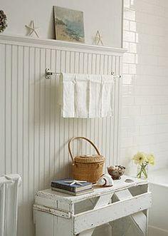 Mixed whites - beadboard, tile, bench...
