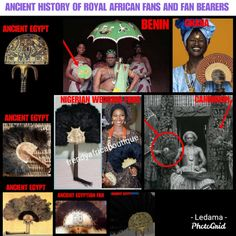 From the times of the Pharaohs until today fan bearers, cup bearers, umbrella holders, maid servants, retainers and all other servants of the king were held in high regard by traditional African society. A duty to the king is a duty of honor and respect. In parts of west Africa today just like ancient Egyptian times, high society women would carry with them Ostrich and peacock feathered fans as a very important accessory. Kings all over Africa were always attended by fan bearers. Egyptian Jewelry, Egyptian Art, Ancient Egypt, Ancient History, Known Unknowns, Blackest Black, Egyptian Costume, Umbrella Holder, Egyptians