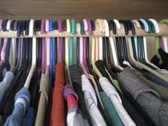 Every January turn all of the hangers in your closet backwards, like this. It takes about 60 seconds: Each time you wear an item, hang it back up in the normal fashion, which takes zero effort to remember or do. In June, any item that is still hanging backwards has not been worn in 6 months, donate it to Goodwill unless you can come up with a good reason to save it.