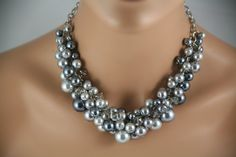 Gray chunky pearl statement necklace silver chain - Statement necklace -Bridesmaids Jewelry, Bridal Jewelry, Wedding Jewelry. Etsy.
