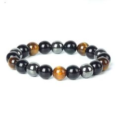 TopGoods Natural Hematite Tiger Eye Black Obsidian Stone Bracelet Beaded Men Magnetic Health Protection Bracelets Length About Gem Color 3 Color Book Jewelry, Jewelry Sets, Women Jewelry, Hematite Bracelet, Stone Bracelet, Health Bracelet, Girl's Generation, Obsidian Stone, Book Necklace
