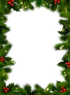 A Christmas border with evergreen and berries.