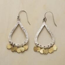 Mixing warm and cool metallic tones, these brass and sterling silver teardrop earrings make an impression.