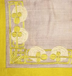 Jessie Newbery applique and embroidery on linen detail __ Arts and Crafts era