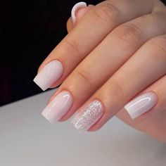 42 Trendy Wedding Manicure Ideas Classy French Tips Classy Nails, Stylish Nails, Trendy Nails, Cute Acrylic Nails, Cute Nails, Acrylic Nail Designs, Gel French Manicure, Manicure E Pedicure, Manicure Ideas