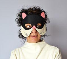 Máscara de gato negro adulta máscara de un Animal por BHBKidstyle