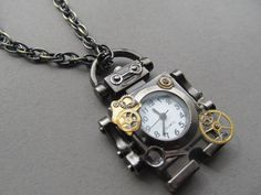 Pirate Benny The STeaMPunK Robot Necklace by IrisJane on Etsy, $18.50
