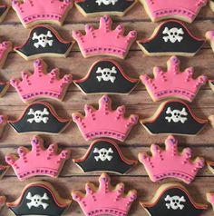 Pirate hat and princess crown cookies