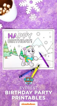 Party pups can color in Everest while settling in or waiting for cake! Looking for a way to help kids get settled in to the party or keep them busy and mess free while waiting you're in the kitchen prepping the cake? Break out the crayons and bring on the coloring fun with this printable Everest coloring page for your child's PAW Patrol Everest birthday party.