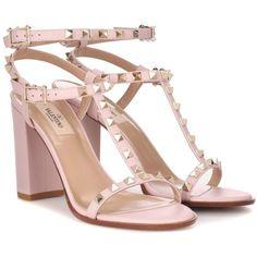 Valentino Valentino Garavani Rockstud Leather Sandals (£740) ❤ liked on Polyvore featuring shoes, sandals, heels, pink, pink sandals, leather sandals, leather shoes, genuine leather shoes and pink leather sandals